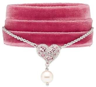 Miu Miu heart charm ribbon bracelet
