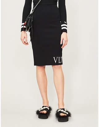 Valentino Logo-print stretch-knit pencil skirt