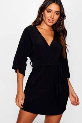 boohoo Batwing Draped Skater Dress
