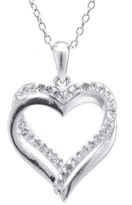 SPARKLE ALLURE Crystal Sophistication Crystal Double Heart Pendant Necklace