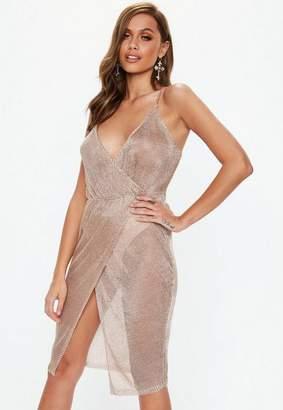 Missguided Rose Gold Metallic Knit Wrap Midi Dress