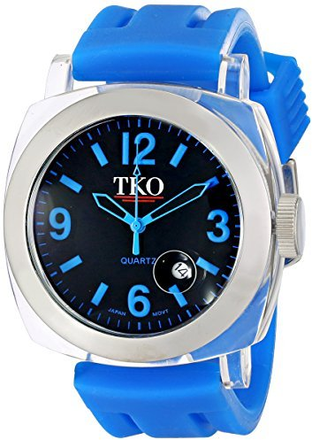 TKO ORLOGI Unisex TK548-BBL Milano Remixed Plastic Case and Blue Rubber Strap Watch