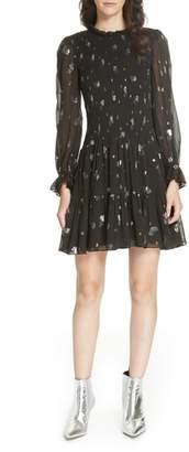 Rebecca Taylor Scattered Metallic Tulip Silk Blend Dress