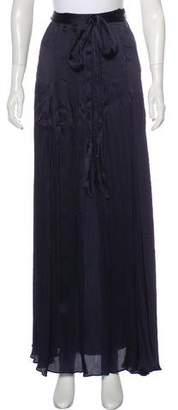 L'Agence Silk Plissé Maxi Skirt
