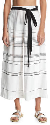 Proenza Schouler High-Waist Striped Palazzo Coverup Pants