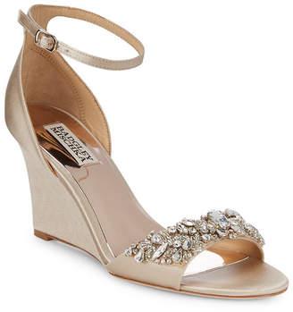 Badgley Mischka Tyra Embellished Satin Ankle Strap Sandal