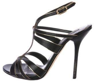 Dolce & Gabbana Embossed Leather Sandals