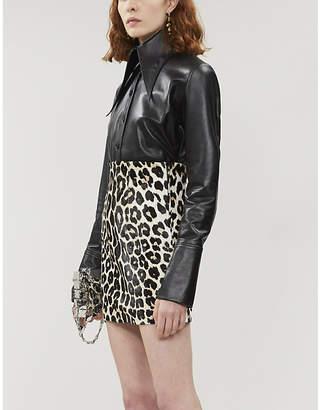 16Arlington 16 ARLINGTON Deneuve leopard-print leather mini skirt