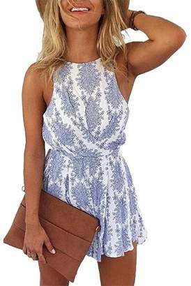 VOKY Women's Backless Romper Shorts Beach Sleeveless Boho Floral Print Jumpsuit