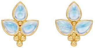 Temple St. Clair 18K Yellow Gold Foglia Trio Blue Moonstone Earrings