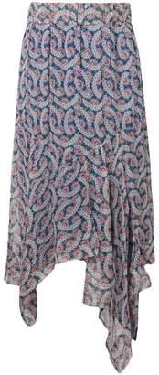 Etoile Isabel Marant sheer printed asymmetric midi skirt