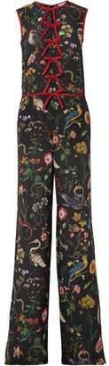 RED Valentino Bow-embellished Floral-print Silk Crepe De Chine Jumpsuit