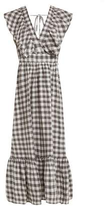 Lee Mathews - Edith Gingham V Neck Linen Dress - Womens - Grey White