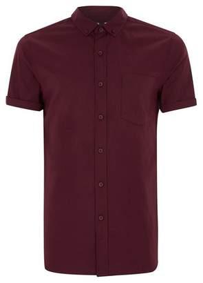 Topman Mens Red Burgundy Muscle Fit Short Sleeve Shirt