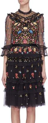 Needle & Thread 'Pandora' floral embroidered ruffle tiered tulle dress