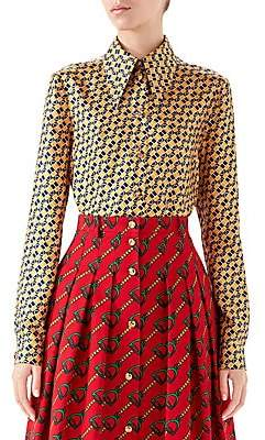 Gucci Women's Chessboard Horsebit Print Button-Down Blouse