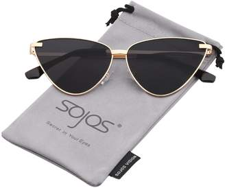 Cat Eye SOJOS Mirrored Sunglasses for Women Classic Design SJ1091 with Gold Frame/Pink Mirrored Lens