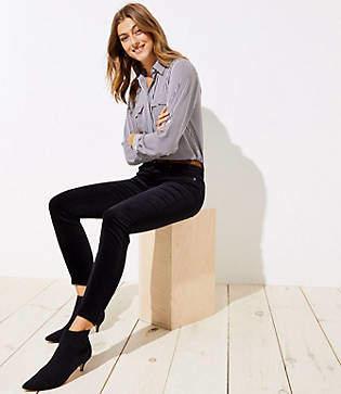 LOFT Tall Modern Velvet Skinny Jeans in Black