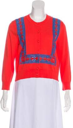 Tory Burch Crochet-Accented Knit Cardigan