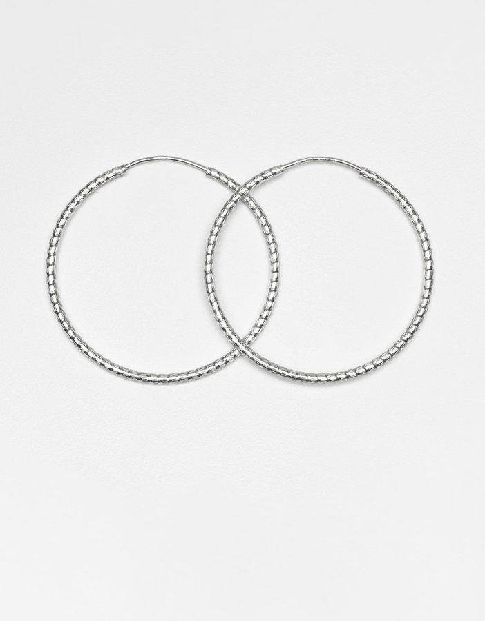 LORD & TAYLOR Sterling Silver Diamond-Cut Rope Hoop Earrings