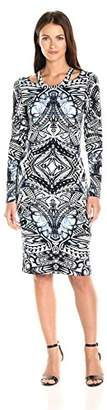 Nicole Miller Women's Riley Indigo Tattoo Ls Cut Out Dress