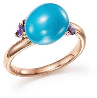 Pomellato Capri Ring with Turquoise Ceramic and Amethyst in 18K Rose Gold