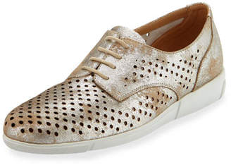 Sesto Meucci Dira Perforated Lace-Up Sneakers, Platino