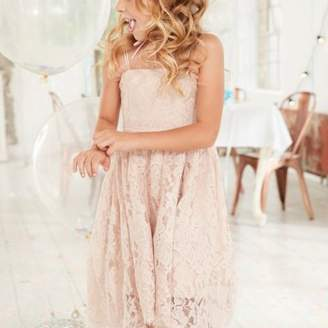 River Island Girls pink lace high low flower girl dress