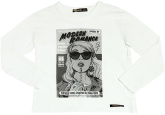 Finger In The Nose Girl Printed Cotton Jersey T-Shirt
