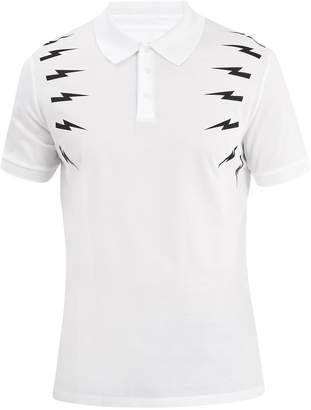 Neil Barrett Thunderbolt cotton polo shirt