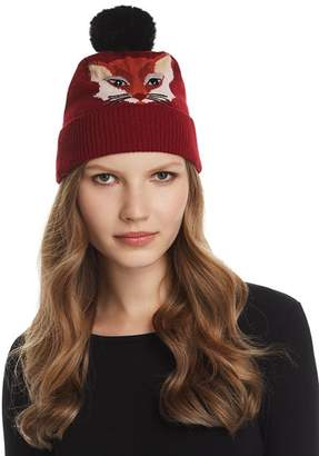 Kate Spade Faux Fur Pom-Pom Fox Intarsia Beanie
