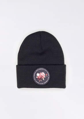 WildFang Wild Feminist Floral Patch Beanie - Wild Feminist Floral Patch Beanie - BLACK - OS