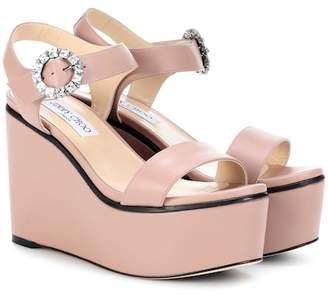 Jimmy Choo Nylah 100 leather wedge sandals