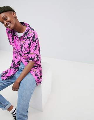 Obey Oversized Shirt With All Over Crocodile Print