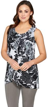 Halston H By H by Sleeveless Tunic w/ Floral Print Chiffon Overlay