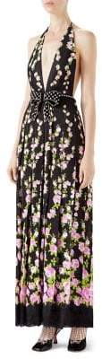 Gucci Embroidered Rose-Print Halter Gown