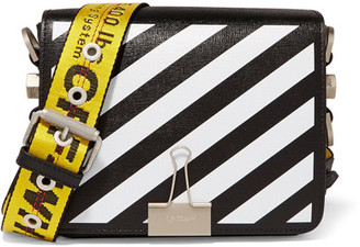 Off-White - Striped Textured-leather Shoulder Bag - Black $1,070 thestylecure.com