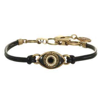Michal Golan Jewelry Mini Black Crystal Evil Eye Leather Bracelet