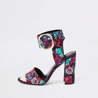 River Island Black floral print block heel sandals