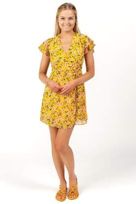 francesca's Dora Floral Wrap Dress - Mustard