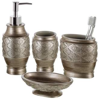 Creative Scents Dublin 4-Piece Bathroom Accessories Set - Includes Decorative Countertop Soap Dispenser, Dish, Tumbler, Toothbrush Holder, Resin Vanity Ensemble Set, Gift Boxed (Brushed Silver)