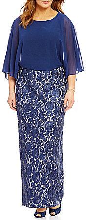 Alex EveningsAlex Evenings Plus Blouson Capelet Column Gown