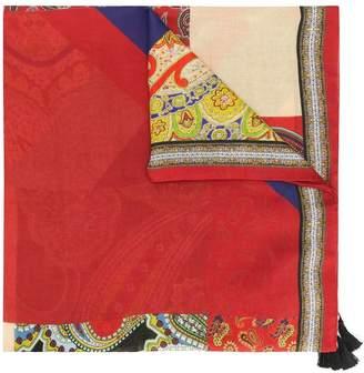 Etro fringed paisley print scarf
