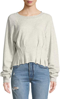 Current/Elliott The Pintucked Raw-Edge Crewneck Sweatshirt