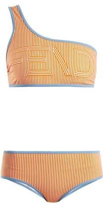 Fendi Striped one-shoulder bikini set