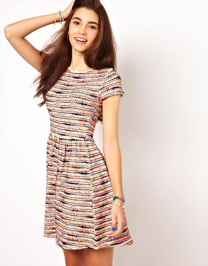 Asos Skater Dress In Bright Stitch Stripe