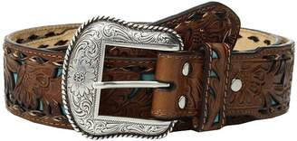 M&F Western Floral Embossed Turquoise Inlay Belt Men's Belts