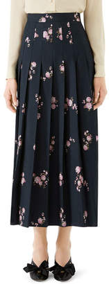 Gucci Camelia Bouquet Fil Coupe Pleated Maxi Skirt