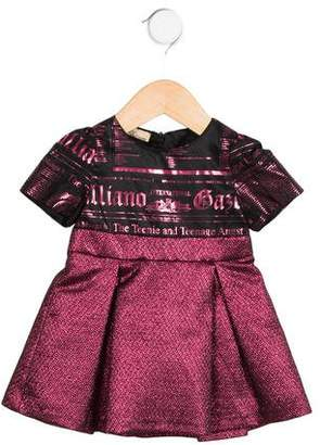 John Galliano Girls' Brocade Logo Dress