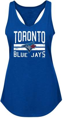 Majestic Toronto Blue Jays Ladies' Four Seamer Twist Back Tank Top - L